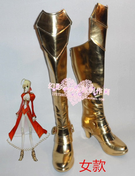Fate Night Zero Extra Saber Nero Claudius Girls Halloween Long Cosplay Shoes Boots H016