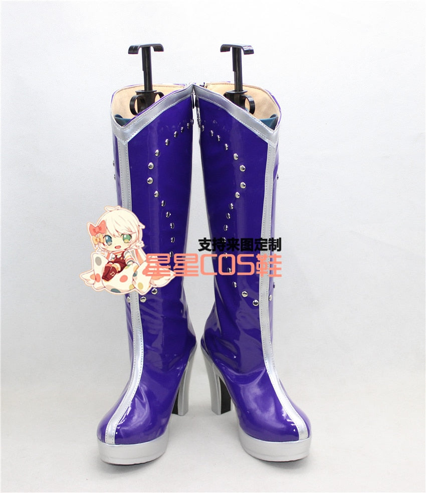LoveLive! Love Live Eli Ayase Ellie Purple Long Halloween Cosplay Shoes Boots X002