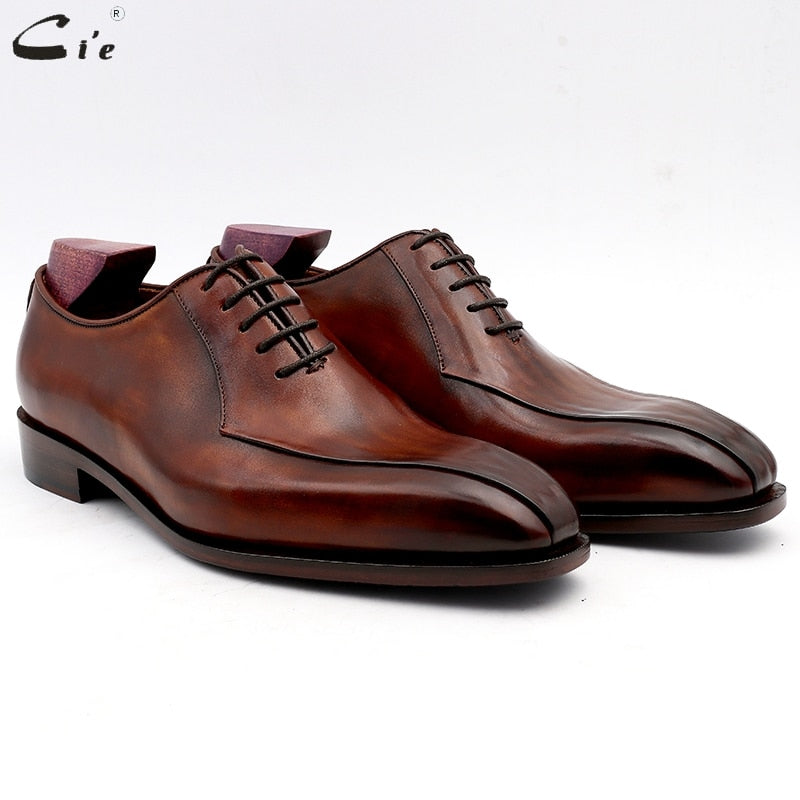 cie men dress shoes leather patina brown men office shoe genuine calf leather outsole men suits formal leather handmade No.8