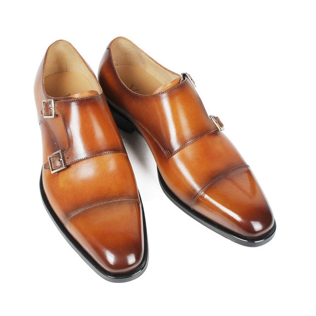 Handmade Mans Footwear Patina Brown Double Monk Strap Dress Shoes For Men Genuine Cow Leather Square Wedding Formal Shoe
