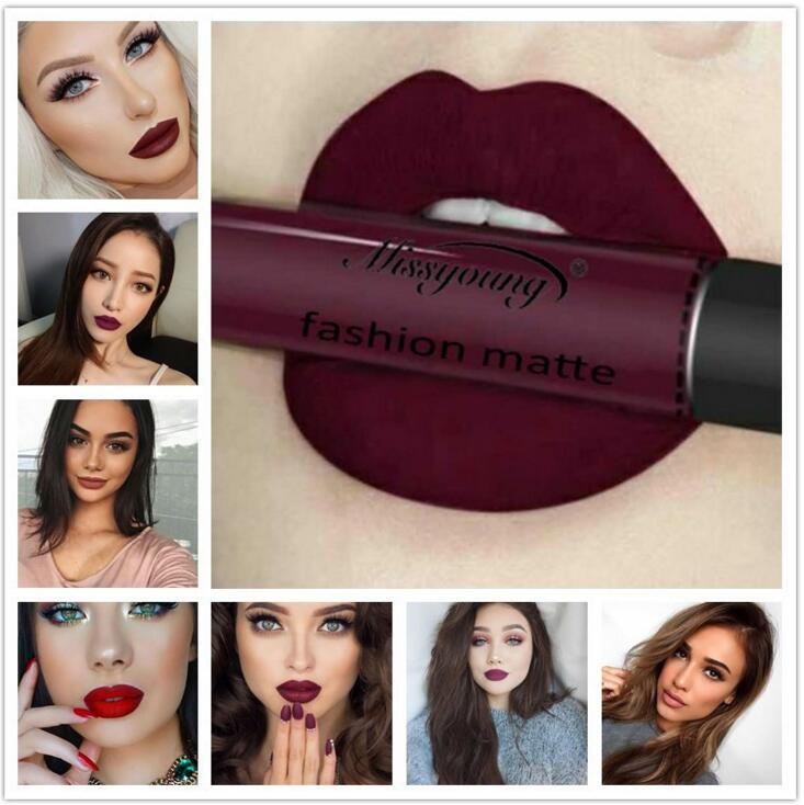 12Colors Long Lasting Waterproof Liquid Pencil Matte Lipstick Lip Gloss Makeup Nonstick cup