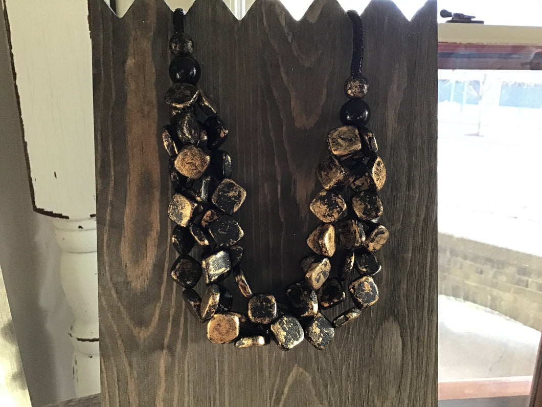 Black & Gold Wood Square Necklace