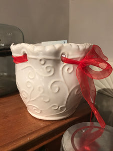 White Pot With Ribbon