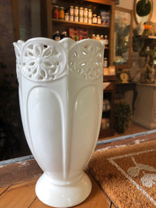Medium White Ceramic Vase with Ornate Rim