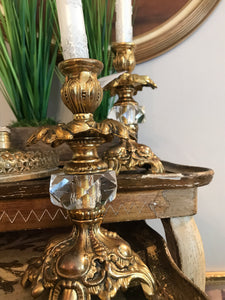 Gold and Crystal Candlestick Holders (set of 2)