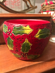 Christmas Holly Small Pot