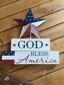 God bless America table top sign