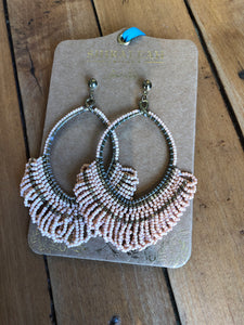 Peach beaded hoop earrings