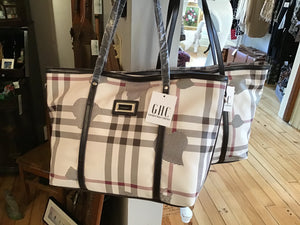 Black and Red Plaid Tote