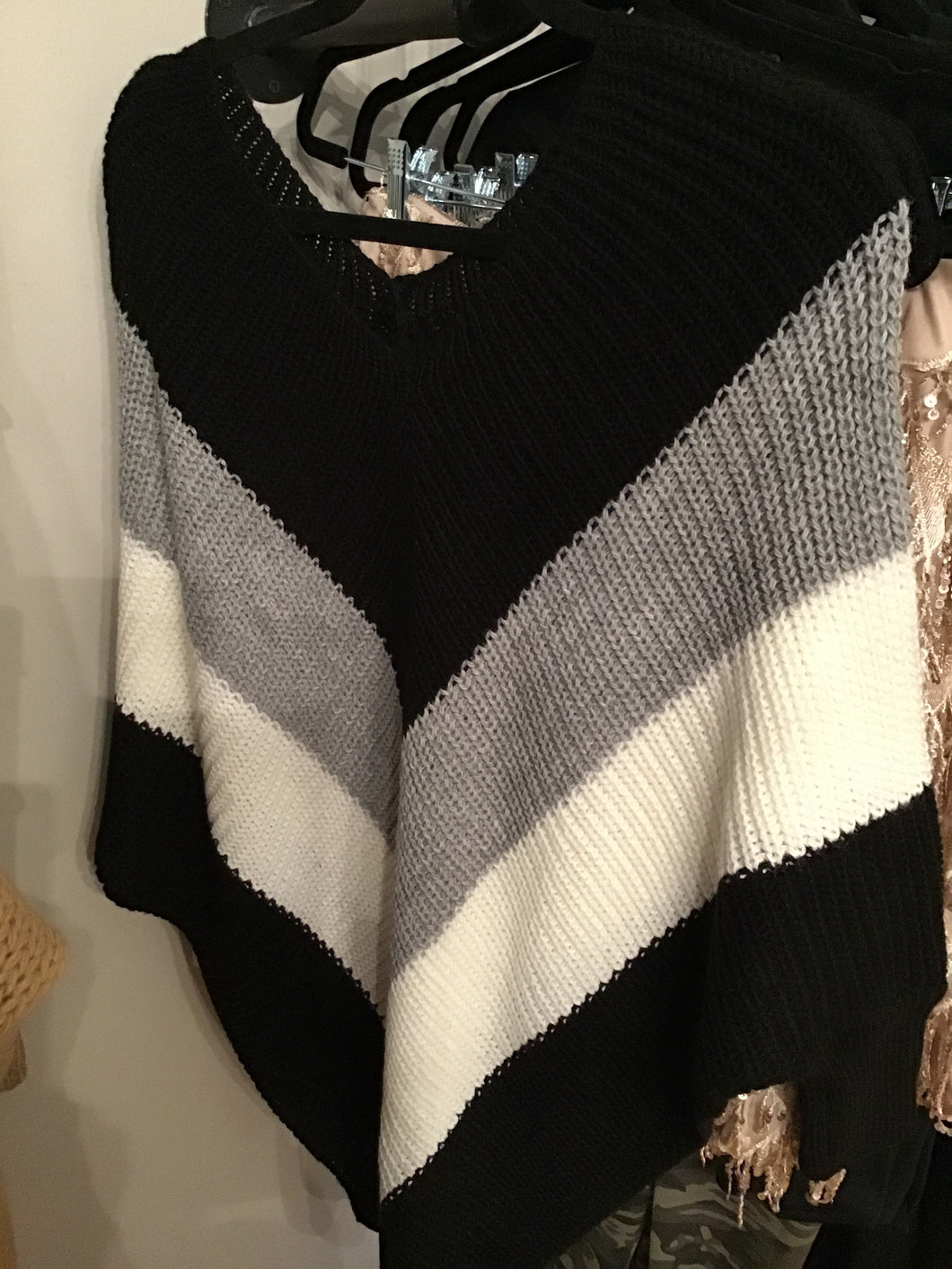Gray Black & White Chevron Sweater