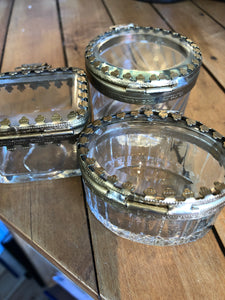 Small glass boxes with metal filigree