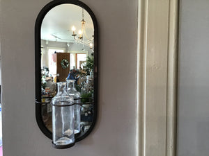 Metal Framed Mirror with Glass Vase