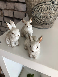 Mini white ceramic bunnies