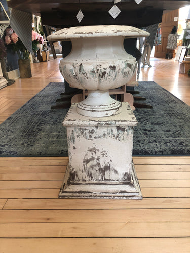22.5 inch Rustic Cream Metal Urn