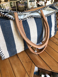 Canvas Blue and white striped tote