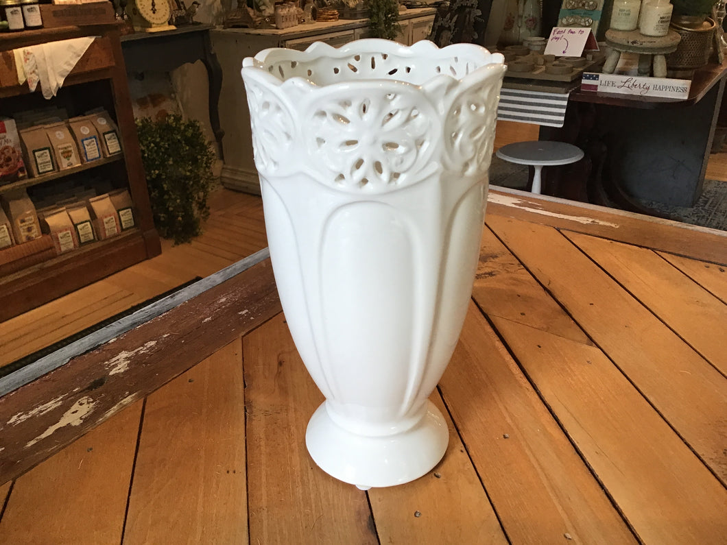 Small White Ceramic Ornate Rim Vase