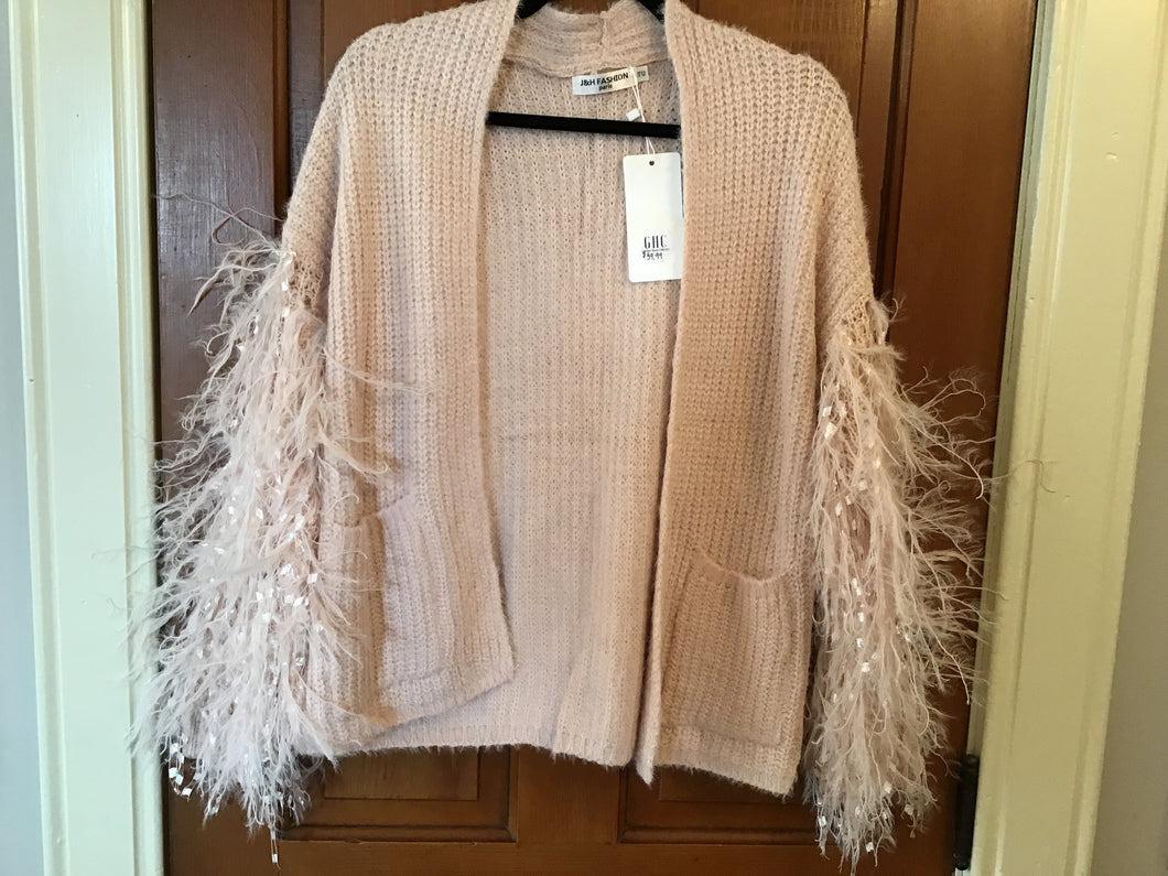 Pink Feathery Sleeve Cardigan