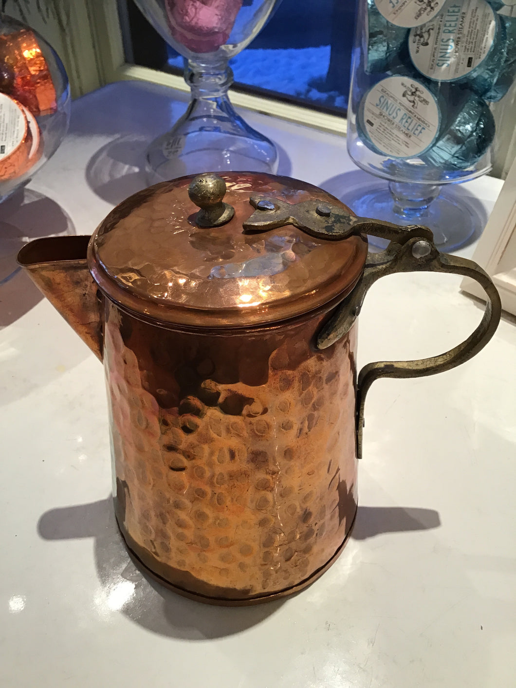 Hammered Copper Flip Top Pitcher