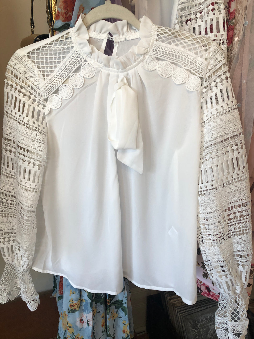 White Lace Sleeve Blouse