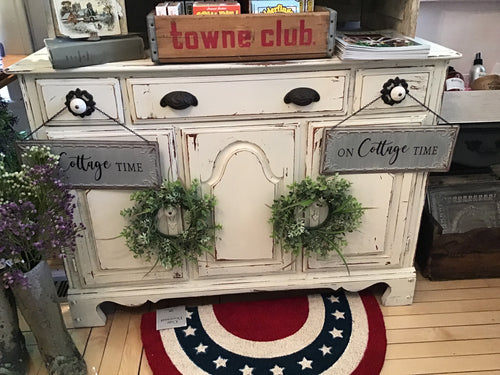 White distressed small dresser