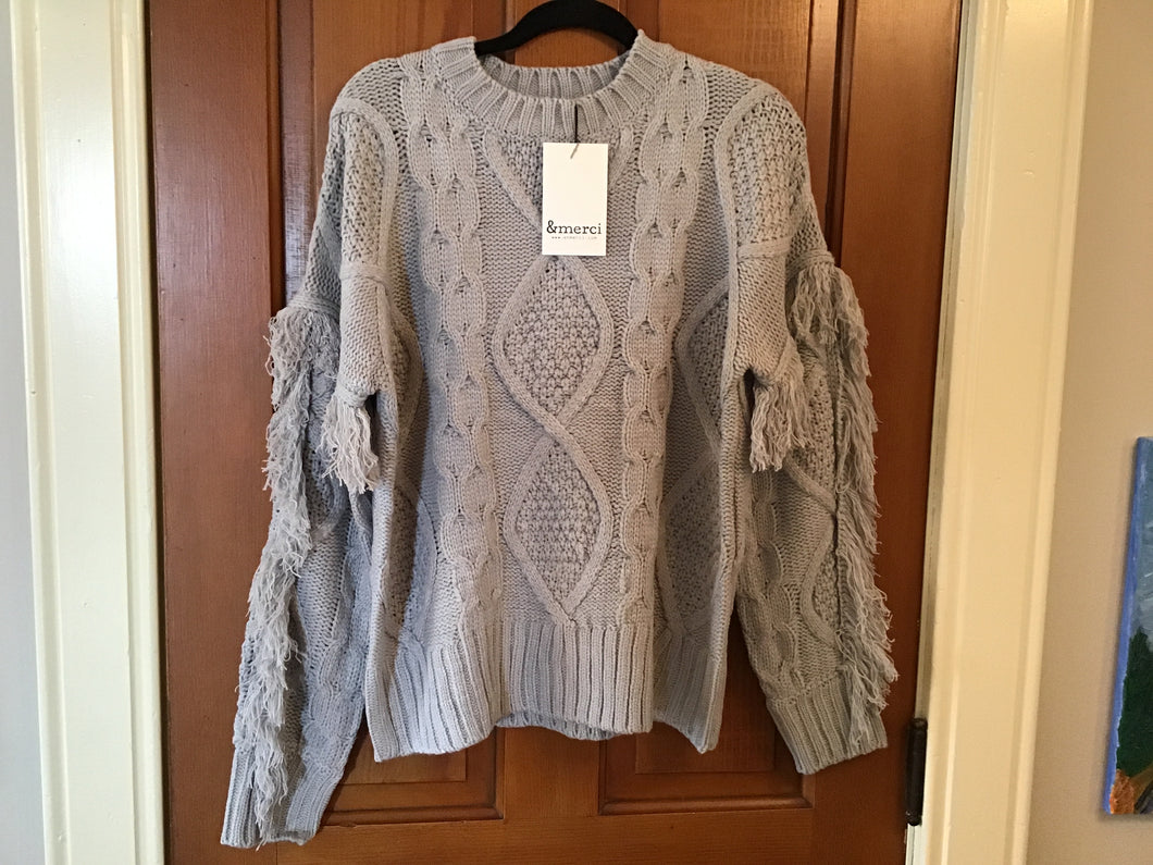 Gray Fringe Sleeve Sweater