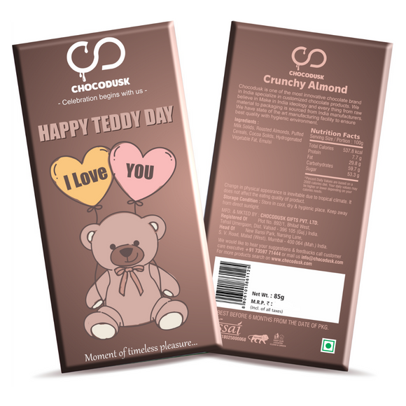 Happy Teddy Day Chocolate Bar