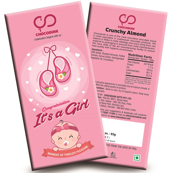 Congrulation It's A Girl (Pink) Chocolate Bar