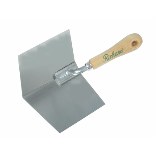 "Richard Drywall Inside Corner Tool with Wood Handle, 4"" Flexible Stainless Steel Blade"