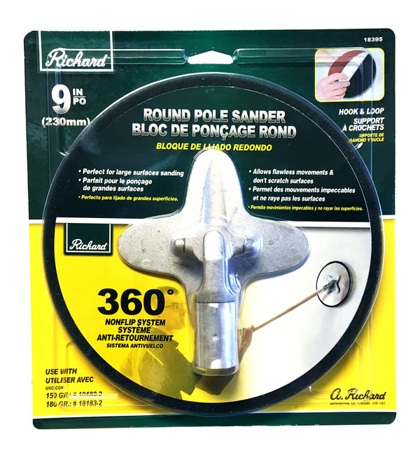 "Richard 9"" Round Pole Sander with Velcro"
