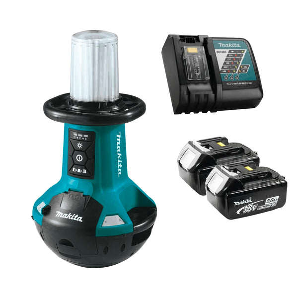 Makita 18V LXT Self-Righting LED Work Light with Charger and Two Batteries Combo Package