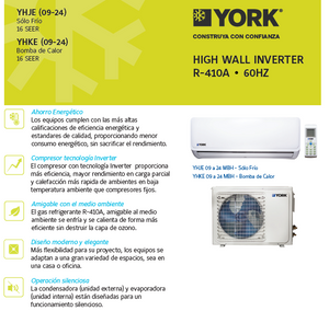 Aire acondicionado mini split  Inverter YORK