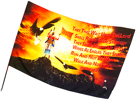 Indian They that Wait Upon the Lord Silk Worship Flag