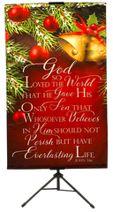 CHRISTMAS- God so Loved the World (Bells) Wall Banner