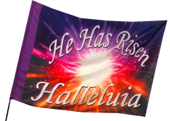 He Has Risen Hallelujah White Font Worship Flag
