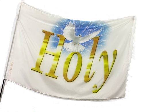 Holy (White Dove Blue Burst) Worship Flag