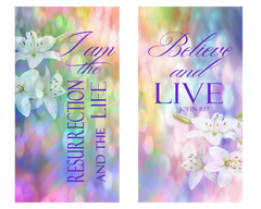 Resurrection Day Believe and I Am (SET OF 2) Vertical Banners
