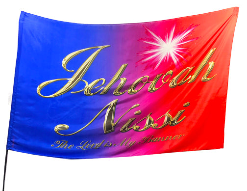 Jehovah Nissi (red-blue) Worship Flag