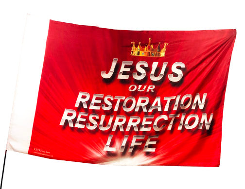 Jesus Our Restoration Resurrection Life Worship Flag