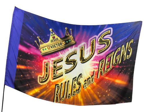 Jesus Rules and Reigns Worship Flag