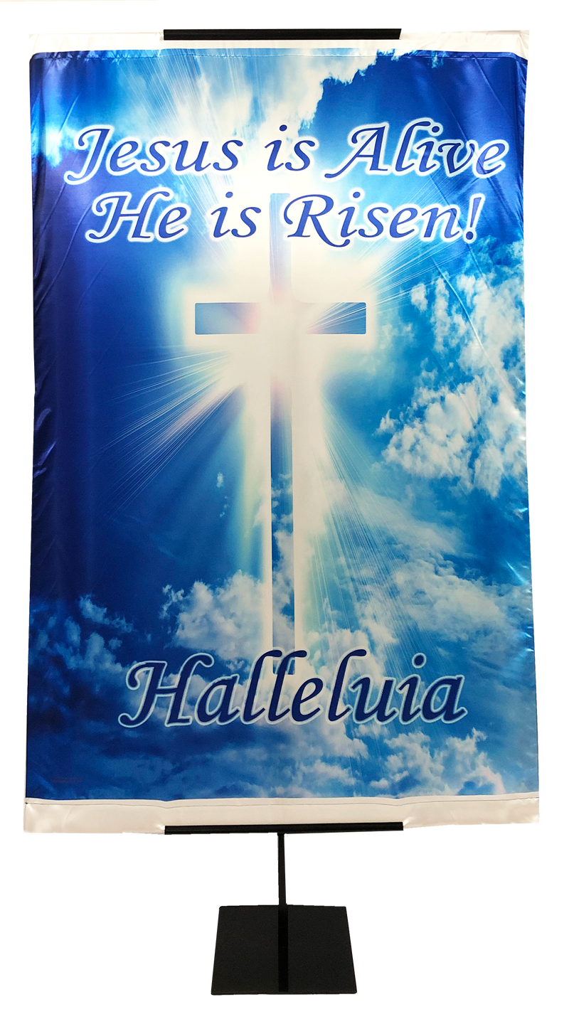 Resurrection Day - Jesus is Alive He is Risen Wall Banner