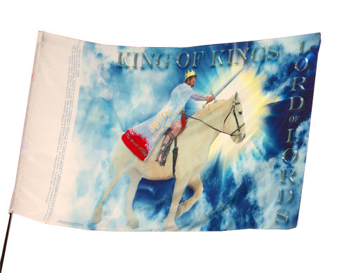 King Jesus Lord of Lords White Horse Worship Flag
