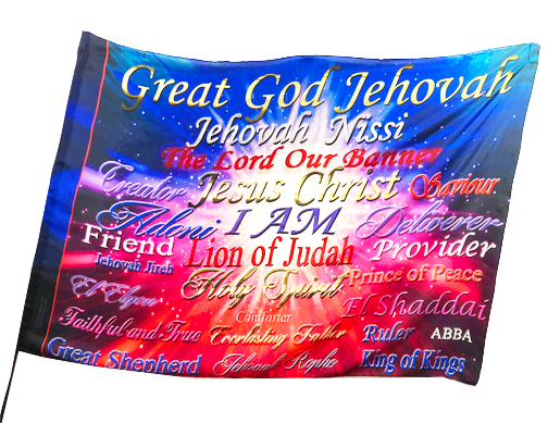 Great God Jahovah Many Names of God Worship Flag