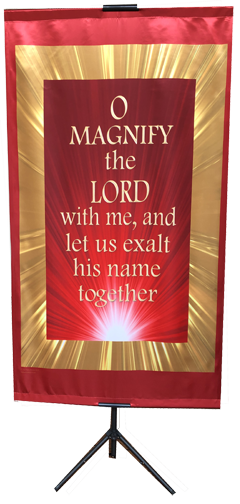 O Magnify the Lord Red Ray Vertical Banner