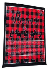 Psalm 91 Red Buffalo Check Scripture Blanket - red/black
