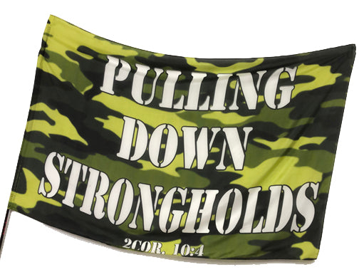 Camouflage Collection   Pulling Down Strongholds Worship Flag