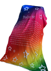 Psalm 91 Stars Scripture Blanket -  Rainbow Colors