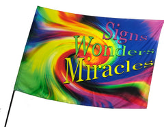 Signs Wonders Miracles Multi Color Worship Flag