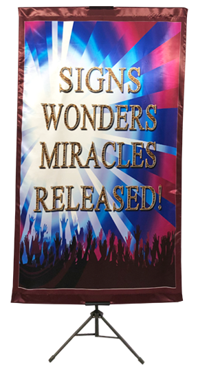 Signs Wonders Miracles Released (Burgundy)  Wall Banner