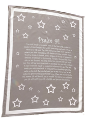 Psalm 91 Stars Scripture Blanket - Grey