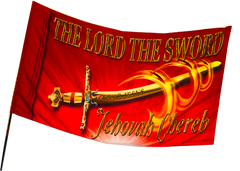 The Lord the Sword Jehovah CherebRED Worship Flag